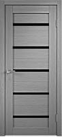 Дверь межкомнатная Стиль-1 Серый дуб Чёрное стекло