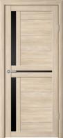 Дверь межкомнатная Стиль-5 Капучино Чёрное стекло